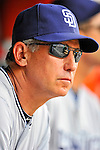 29 May 2011: San Diego Padres Manager Bud Black waits for the start of play in the dugout prior to a game against the Washington Nationals at Nationals Park in Washington, District of Columbia. The Padres defeated the Nationals 5-4 to take the rubber match of their 3-game series. Mandatory Credit: Ed Wolfstein Photo