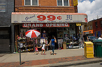 A Ninety Nine Cent store in Bushwick, Brooklyn in New York is seen on Sunday, June 28, 2009. More consumers are patronizing these stores to stretch their dollars in these uncertain economic times. (© Frances M. Roberts)