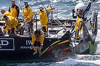 FRANCE, Lorient. 1st July 2012. Volvo Ocean Race, Start Leg 9 Lorient-Galway. Knut Frostad, CEO Volvo Ocean Race jumps from Abu Dhabi Ocean Racing.