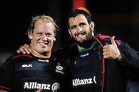 Petrus du Plessis and Juan Figallo of Saracens pose for a photo after the match. European Rugby Champions Cup match, between Saracens and the Scarlets on October 22, 2016 at Allianz Park in London, England. Photo by: Patrick Khachfe / JMP
