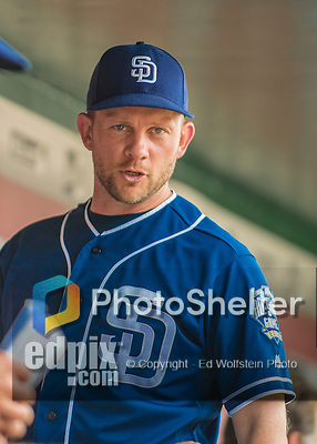 24 July 2016: San Diego Padres Manager Andy Green stands in the dugout prior to a game against the Washington Nationals at Nationals Park in Washington, DC. The Padres defeated the Nationals 10-6 to take the rubber match of their 3-game, weekend series. Mandatory Credit: Ed Wolfstein Photo *** RAW (NEF) Image File Available ***