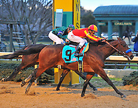 Rafael Bejarano and Bob Baffert trained Secret Circle (9) edged Jake Mo to complete the sweep in both divisions of the 47th Southwest Stakes at Oaklawn Park in Hot Springs Monday afternoon.