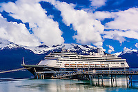 Holland America Line's MS Zaandam cruise ship docked in Haines, southeast Alaska USA.