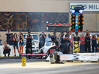 Jul 8, 2016; Joliet, IL, USA; Crew members with NHRA top fuel driver Steve Torrence during qualifying for the Route 66 Nationals at Route 66 Raceway. Mandatory Credit: Mark J. Rebilas-USA TODAY Sports