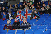 Iceland supporters show their country's colours at Cardiff City Stadium, Cardiff, Wales, Wednesday 5th March 2014. The Football Association of Wales - Vauxhall International Friendly - Wales v Iceland. Pictures by Jeff Thomas Photography - www.jaypics.photoshelter.com - Contact: thomastwotimes@live.co.uk - 07837 386244