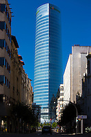 Iberdrola Tower, Torre Iberdrola, offices of Iberdrola Basque utility company near traditional architecture in Bilbao, Spain