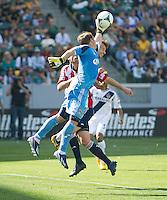 CARSON, CA - March 17, 2013: Chivas goalie Dan Kennedy (1) makes a save during the LA Galaxy vs Chivas USA game at the Home Depot Center in Carson, California. Final score LA Galaxy 1, Chivas USA 1.