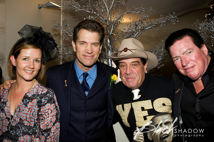 """Publicist Jennifer Fontaine, singer Chris Isaak, Australian music icon Ian """"Molly"""" Meldrum and Kenny Dale Johnson (Chris Isaak's long time drummer) enjoying festivities at the 2008 Melbourne Cup."""
