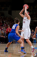 Stanford, CA., March 24, 2013-- Stanford's Joslyn Tinkle,  looks for an open player during Sunday, March 24, 2013, first round 2013 NCAA Division I Women Basketball game against Tulsa. Stanford won the game 72-56. ( Norbert von der Groeben / ISI Photo )