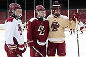 Jesper Mattila (BC - 8), Julius Mattila (BC - 26) and Zach Walker (BC - 14) pose for the Mattilas' father. - The Boston College Eagles practiced at Fenway on Friday, January 6, 2017, in Boston, Massachusetts.