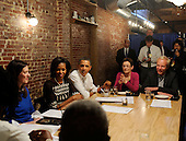 United States President Barack Obama and First Lady Michelle Obama have dinner with winners of a campaign contest, including, from left, Cathleen Loringer, from Wauwatosa, WI, Judy Glassman and Mitch Glassman, from Cambridge, MA, at Boundary Road, on Thursday, March 8, 2012, in Washington, DC. .Credit: Leslie E. Kossoff / Pool via CNP