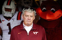 CHARLOTTESVILLE, VA- NOVEMBER 12: Virginia Tech Hokies head coach Frank Beamer stands with his team in the tunnel before the game against the Virginia Cavaliers on November 28, 2011 at Scott Stadium in Charlottesville, Virginia. Virginia Tech defeated Virginia 38-0. (Photo by Andrew Shurtleff/Getty Images) *** Local Caption *** Frank Beamer