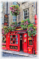 The Temple Bar is a colourful spot in the city of Dublin in Ireland.