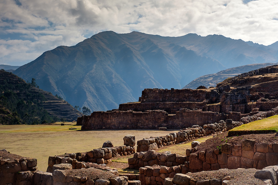 CHINCHERO, PERU - CIRCA OCTOBER 2015:  Inca Terraces in Chinchero on the Cusco region known as Sacred Valley