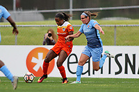 Piscataway, NJ - Saturday May 20, 2017: Erin Simon, Nichelle Prince during a regular season National Women's Soccer League (NWSL) match between Sky Blue FC and the Houston Dash at Yurcak Field.  Sky Blue defeated Houston, 2-1.