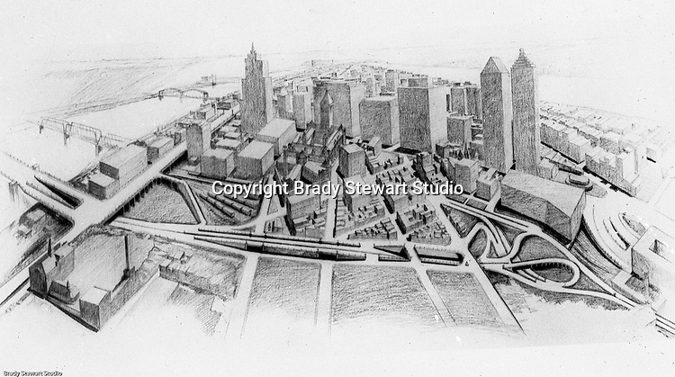 Pittsburgh PA: View of an old lantern slide created by Brady Stewart for the Pittsburgh Citizens Committee on City Plan (CCCP) when they were crafting the City Plan.  <br /> This view is a rendering of what the city will look like after the Major Street Plan is implemented.<br /> The Citizen's Committee was organized to produce the Pittsburgh Plan for infrastructure including: playgrounds, major streets, Parks, Public Transit, Railroads and Waterways. Some of the cities most accomplished and influential citizens volunteered to serve on the various committees from 1920 thru 1924. Prominent citizens included: Richard and Andrew Mellon, Charles Armstrong, Henry Buhl Jr., Edgar, Issac &amp; Oliver Kaufmann, Roy A. Hunt, George Davison along with many leading Pittsburgh companies. They all paid an annual subscription (dues) to fund the activities of the Citizen's Committee. Brady Stewart provided photographic services for the committee.<br /> The negative and print were ordered by the Pittsburgh Regional Planning Association for a meeting in 1968.