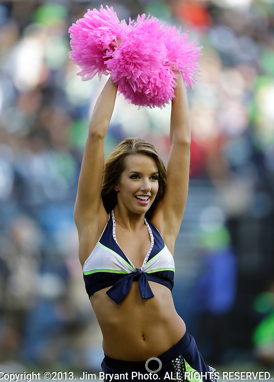 Seattle Seahawks Seagals wave pink pom poms during halftime in their game against the Tennessee Titans at CenturyLink Field in Seattle, Washington on  October13, 2013.  Both players and the dance team wore pink to honor Breast Cancer awareness month.The Seahawks beat the Titians 20-13.   ©2013. Jim Bryant Photo. All Rights Reserved.