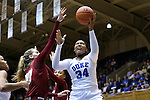 14 December 2015: Duke's Lynee Belton (34) and UMass's Maggie Mulligan (00). The Duke University Blue Devils hosted the University of Massachusetts Minutewomen at Cameron Indoor Stadium in Durham, North Carolina in a 2015-16 NCAA Division I Women's Basketball game. Duke won the game 70-46.