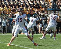 Virginia quarterback Matt Johns. The Pitt Panthers football team defeated the Virginia Cavaliers 26-19 on Saturday October 10, 2015 at Heinz Field, Pittsburgh, Pennsylvania.