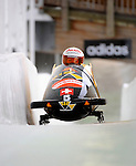 15 December 2007: Switzerland 1 pilot Maya Bamert, with Anne Dietrich on the brakes, head down the straightaway towards Turn 16 during their second run of the FIBT World Cup Bobsled Competition at the Olympic Sports Complex on Mount Van Hoevenberg, at Lake Placid, New York, USA. ..Mandatory Photo Credit: Ed Wolfstein Photo