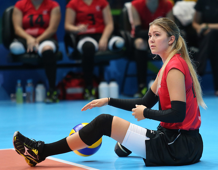 Rio de Janeiro-15/9/2016- Canada plays Rwanda  in the women's sitting volleyball at RioCentre at the 2016 Paralympic Games in Rio. Photo Scott Grant/Canadian Paralympic Committee