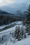Bow river in the winter along Hwy 1A in Canada