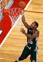 Ohio Bobcats guard Nick Kellogg (15) sinks a basket in the first half of the college basketball game between the Ohio State Buckeyes and the Ohio Bobcats at Value City Arena in Columbus, Tuesday evening, November 12, 2013. The Ohio State Buckeyes defeated the Ohio Bobcats 79 - 69. This was the first meeting of the teams in 19 years and the first ever game between them at Value City Arena. (The Columbus Dispatch / Eamon Queeney)