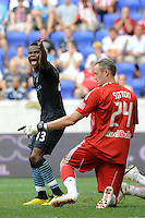 Alex Tchuimeni-Nimely (43) of Manchester City F. C.  looks for a call from the assistant referee. The New York Red Bulls defeated Manchester City F. C.2-1 during a Barclays New York Challenge match at Red Bull Arena in Harrison, NJ, on July 25, 2010.