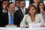 Conservative National Action Party candidate Josefina Vazquez Mota (R) reads an statement during the dialogue with members of the National Movement for Peace with Justice and Dignity (MPJD) in the Alcazar del Castillo de Chapultepec venue in Mexico City, May 28. 2012. Gustavo Madero listens at her side. Sicilia and the mothers of disappeared people demanded peace to Mexico and the punishment of the authorities linked to the organized crime in Mexico. Photo by Heriberto Rodriguez