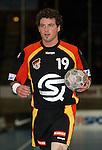 Handball Herren, Laenderspiel, UNIVERSA-CUP Hanns-Martin-Schleyerhalle Stuttgart (Germany) Nationalmannschaften, Deutschland - Tschechien Florian Kehrmann (GER) am Ball