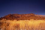 travel destinations: the sandia mountains desert twilight landscape glows, albuquerque, new mexico