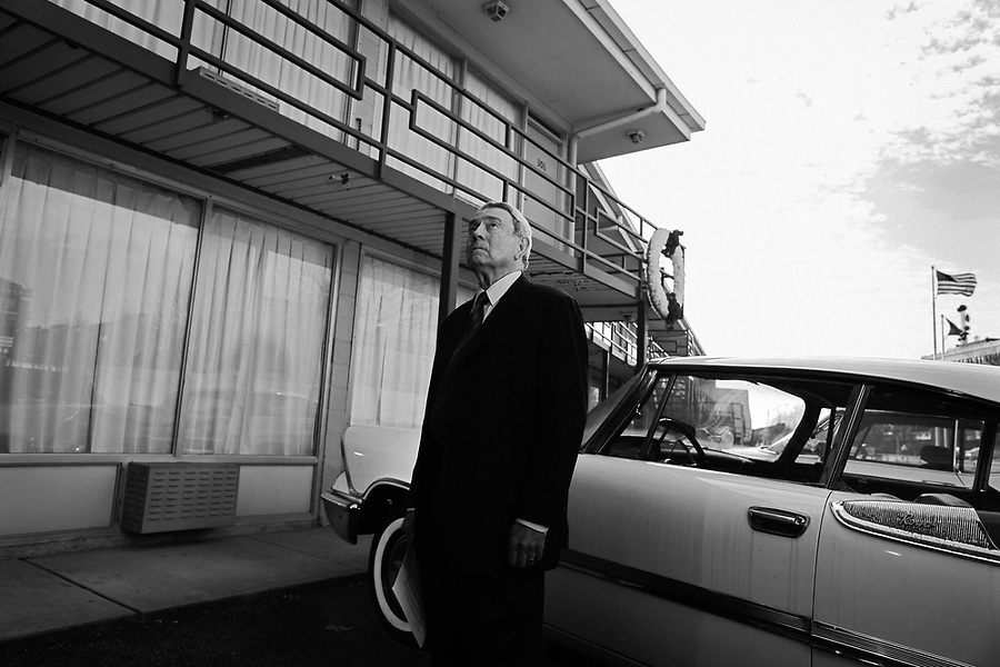 Journalist Dan Rather prepares to record a stand-up at in front of  the place where Martin Luther King, Jr. was assassinated in 1968. The site - the Lorraine Motel in Memphis, TN - was transformed into the National Civil Rights Museum in 1991.
