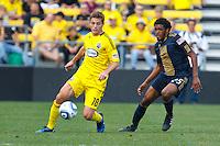 24 OCTOBER 2010:  Columbus Crew midfielder/forward Robbie Rogers (18) and Philadelphia Union defender Sheanon Williams (25) during MLS soccer game at Crew Stadium in Columbus, Ohio on August 28, 2010.