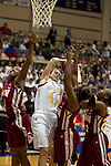 23 MAR 2012:  Kari Daugherty (44) of Ashland University, center, battles for a rebound against Kyria Buford (21) Victoria Tanner, (41) and Enonge Stovall (23) left to right, of Shaw University during the Division II Womens Basketball Championship held at Bill Greehey Arena in San Antonio, TX.  Shaw University defeated Ashland University 88-82 for the national title.  Rodolfo Gonzalez/ NCAA Photos