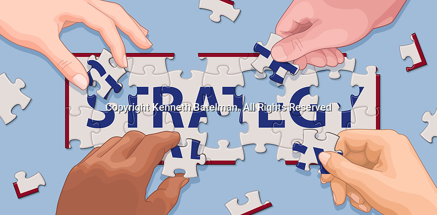 Hands cooperating to solve 'strategy' jigsaw puzzle