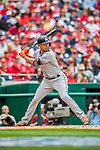 3 April 2017: Miami Marlins outfielder Giancarlo Stanton at bat against the Washington Nationals on Opening Day at Nationals Park in Washington, DC. The Nationals defeated the Marlins 4-2 to open the 2017 MLB Season. Mandatory Credit: Ed Wolfstein Photo *** RAW (NEF) Image File Available ***