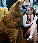 PLYMOUTH, CT--03 January 08--010308TJ09 - Melissa Belonick, left, as the Terryville High School mascot, sits with Jessica Hamel, of the Terryville Majorettes, during Terryville High School's 68-30 victory over Housatonic Valley Regional High School on Thursday, January 3, 2008. T.J. Kirkpatrick/Republican-American