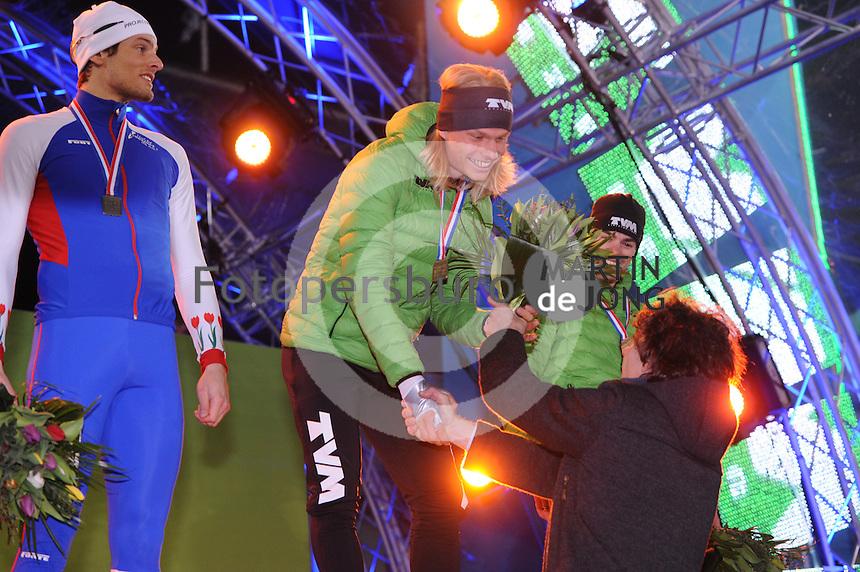 SCHAATSEN: AMSTERDAM: Olympisch Stadion, 28-02-2014, KPN NK Sprint/Allround, Coolste Baan van Nederland, podium Heren Allround 500m, Lucas van Alphen, Koen Verweij, Wouter olde Heuvel, ©foto Martin de Jong