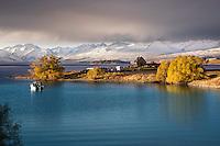 Autumn sunset on the Church of The Good Shepherd, Lake Tekapo, South Canterbury New Zealand.