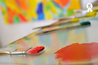 Red paint on paintbrush, (Licence this image exclusively with Getty: http://www.gettyimages.com/detail/84754508 )