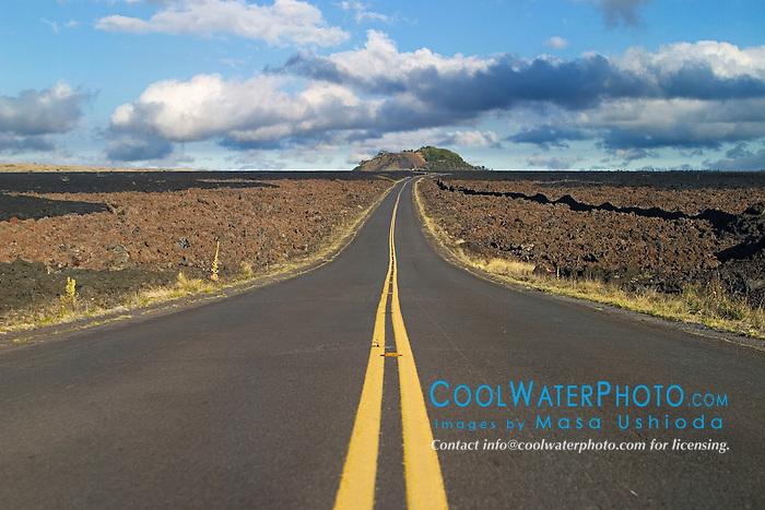 Saddle Road and Pu`u Huluhulu, an old cinder cone created by Mauna Kea long time ago, Mauna Kea, Big Island, Hawaii