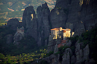 Kalambaka, Kastraki, Meteora, Greece, June 2006. Roussanou monastery in the foreground and Agios Nikolaos Anapafsas monastery in the background. The Monastaries of Meteora can be found high on the steepest rocks. Photo by Frits Meyst/Adventure4ever.com