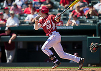 NWA Democrat-Gazette/JASON IVESTER<br /> Arkansas's Carson Shaddy connects on a pitch Sunday, March 19, 2017, against Mississippi State at Baum Stadium in Fayetteville.