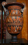 Volute Krater, Apulian Greek 330-310 BC, Style of Baltimore Painter, Scenes of Trojan War, Greeks fighting Amazons, Sacrifice by Oinomaos and Pelops, King's Library, British Museum, London, England, UK