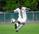 11 September 2009: University of Vermont Catamount midfielder/backfielder Yannick Lewis, a Sophomore from Toronto, Ontario, in action against the University of Portland Pilots, in the first round of the 2009 Morgan Stanley Smith Barney Soccer Classic held at Centennial Field in Burlington, Vermont. The Catamounts and Pilots battled to a 1-1 double-overtime tie. Mandatory Photo Credit: Ed Wolfstein Photo