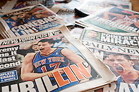 A collection of New York City newspaper covers over several days related to the popularity of NY Knicks Asian basketball player Jeremy Lin, seen on Wednesday, February 15, 2012. (© Richard B. Levine)