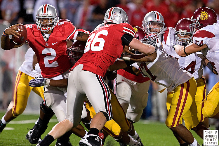 12 September 2009:  Football -- Ohio State quarterback Terrelle Pryor tries to run against the USC defense during their game at Ohio Stadium in Columbus.  USC won 18-15.  Photo by Christopher McGuire.