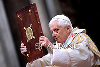 Pope Benedict XVI celebrates the solemnity of the Epiphany at St Peter's basilica at The Vatican. on January 6, 2011