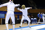 DURHAM, NC - FEBRUARY 26: Notre Dame's Ariel Simmons (left) and Dylan French (right) contest the Men's Epee championship final. The Atlantic Coast Conference Fencing Championships were held on February, 26, 2017, at Cameron Indoor Stadium in Durham, NC.
