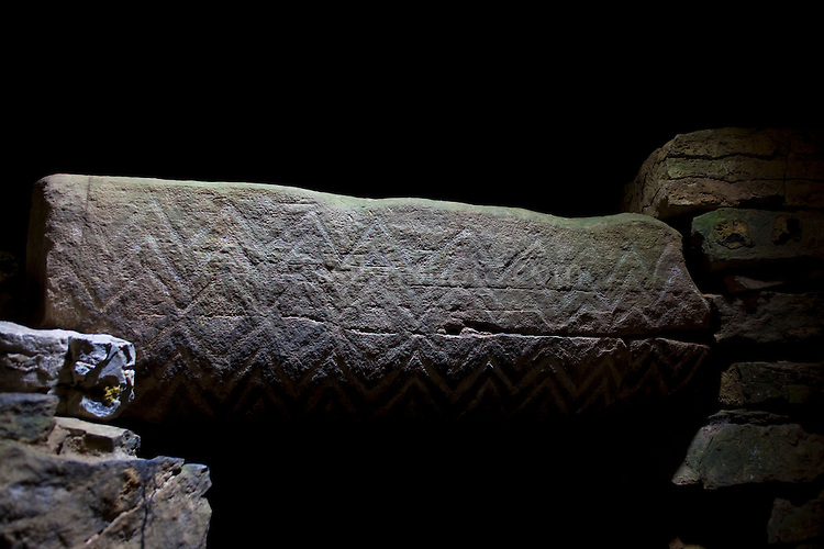 Fourknocks Megalithic Tomb, Meath, Ireland. A small mound, but somehow larger than Newgrange inside, it houses some of the most stunning neolithic artwork in Europe, after the other monuments of the Boyne Valley...This lintel is from the right hand, or northern chamber.